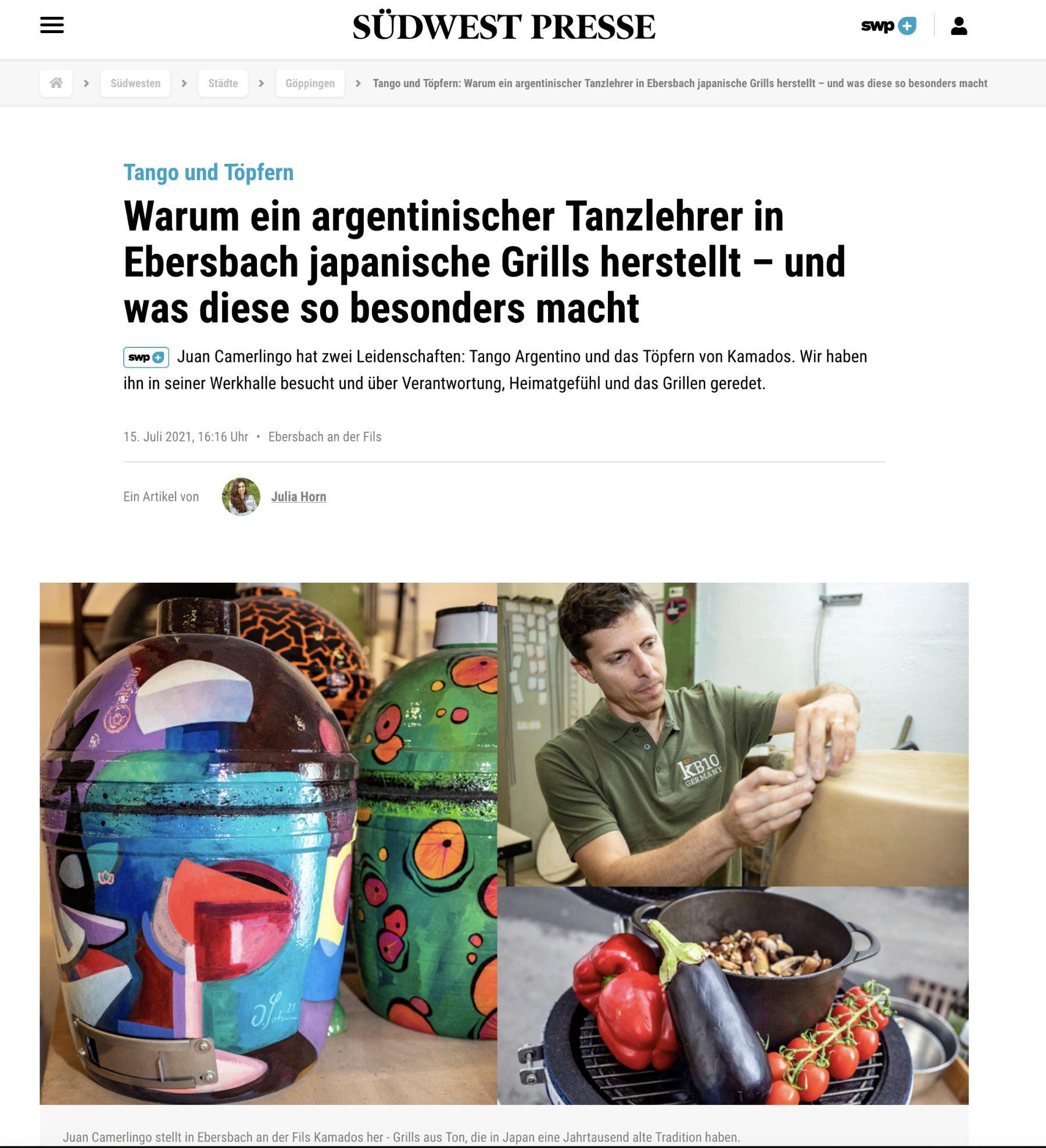 Südwest Presse und kamado B10 Germany